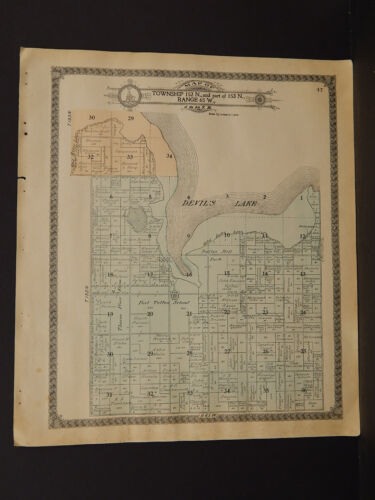 North Dakota Benson County Map Twin Lake Township 1910  L7#69