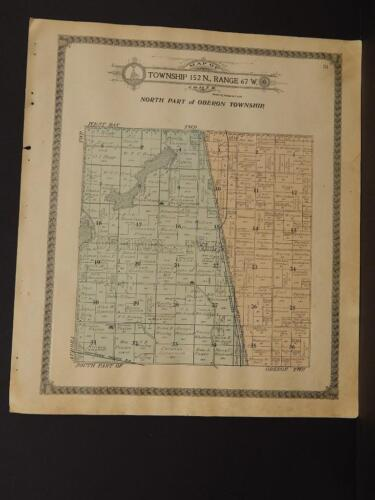 North Dakota Benson County Map Oberon Township 1910   L8#27