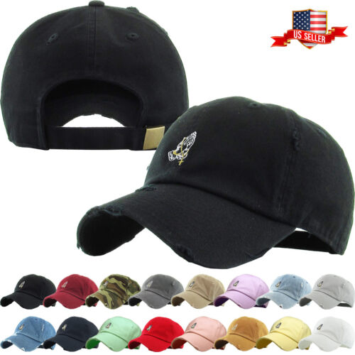 Praying Hands Rosary Embroidery Dad Hat Baseball Cap Unconstructed
