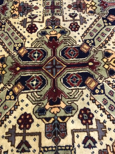 Exquisite Antique 1900-1940's Wool Pile Natural Dye Cross Patterned Armenian Rug