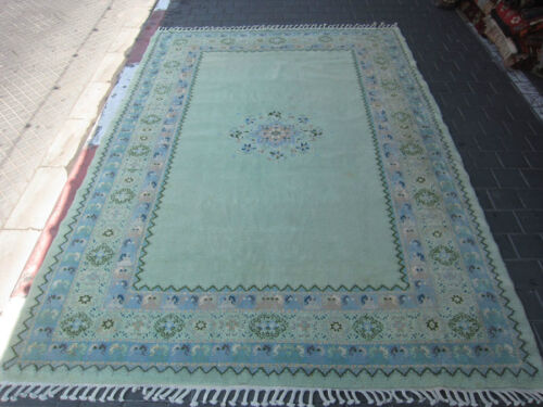 ORIGINAL ANTIQUE MOROCCAN WOOL CARPET RUG HAND MADE 294x199-cm/115.7x78.3-inches