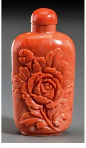 Antique Estate Chinese red coral peony snuff bottle,19th Century. 2 1/4 inches H