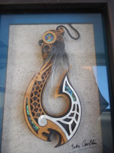 """The Fish Hook of Maui Framed Art by New Zealand Mike Carlton Maori Descent 9 """""""