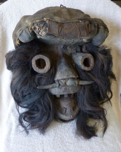 Ivory Coast DAN TRIBAL AFRICAN CEREMONIAL MASK.   HARDWOOD AND ANIMAL HAIR