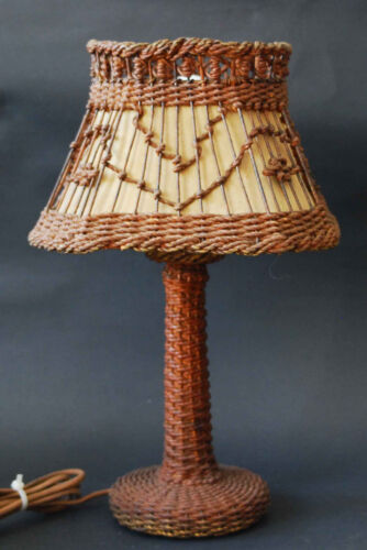 NICE ANTIQUE ADIRONDACK EASTLAKE ARTS CRAFTS WICKER LAMP WITH SHADE CLOTH CORD