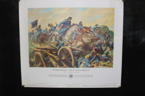 """Vintage print 1953 History of US Army Poster No.4 """"Remember Your Regiment"""" Other Militaria - 135"""