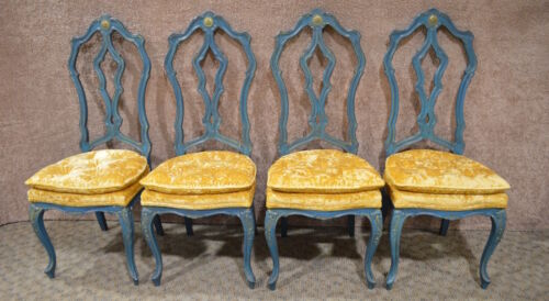 Set of Four Vintage Hollywood Regency Style Dining Chairs
