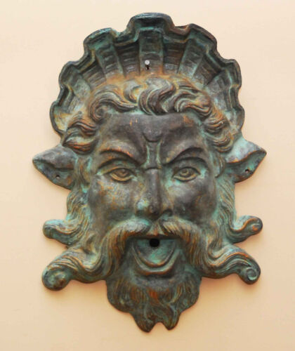 ANTIQUE CAST IRON NORTHWIND FACE GOTHIC REVIVAL SATYR ARCHITECTURAL SALVAGE HEAD