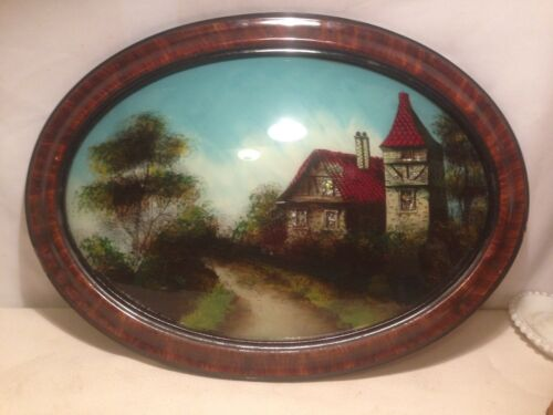 Vtg Oval Cottage  Wood Victorian  Frame Convex Bubble Glass Reverse painting