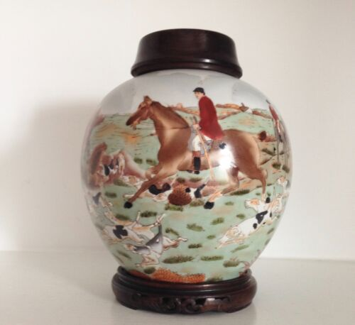Old Republic Chinese EXPORT Porcelain Ginger Jar ~Hunting Scene ~Lid & Stand