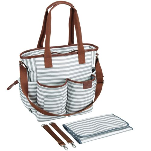 Baby Mom Weekender Tote Diaper Bag with Portable Changing Mat Gray White Stripes