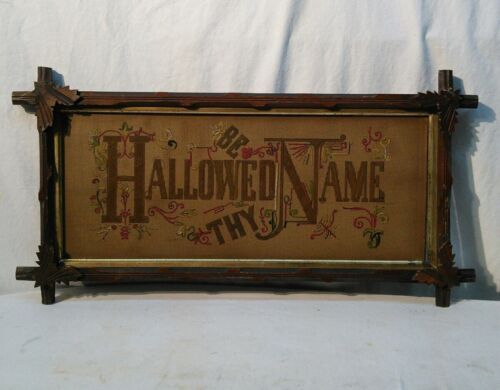 Antique Black Forest leaf Frame Punch Paper Embroidery HALLOWED BE THY NAME
