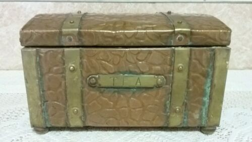 Antique Tea Caddy Copper & Brass Wooden Lined Footed Treasure Chest **QUALITY**