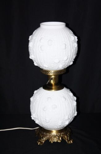 Fenton White Cabbage Glass Gone With the Wind Lamp 3 - Way