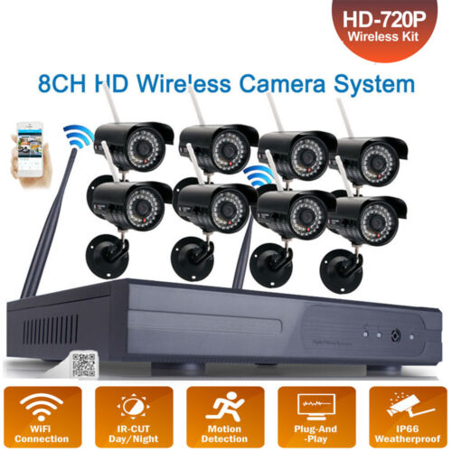 8CH HD Wireless NVR IR Night Vision Wifi IP Network Camera Home Security System
