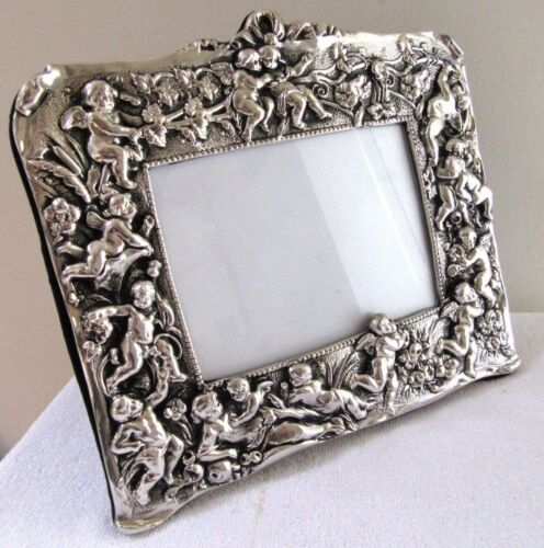 "BIG 11.5"" VINTAGE STERLING SILVER ORNATE CHERUB PICTURE FRAME ART NOUVEAU EASEL"