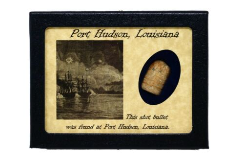 Shot Civil War Bullet Relic from Port Hudson,Louisiana with Display Case and COABullets - 103996