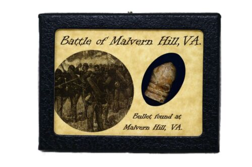 Shot Bullet Relic from Malvern Hill, Virginia with Display Case and COABullets - 103996