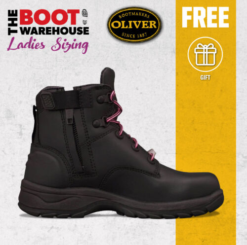 Oliver Work Boots, 49445z, Women's' Black Leather, Zip Side, Steel Cap Safety,  <br/> PRE-ORDER STYLE - UP TO 15 BUSINESS DAYS POSTAL DELAY
