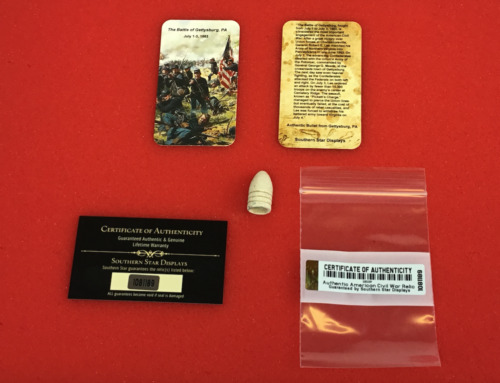 Dropped Civil War Relic Bullet from Gettysburg, PA with Information Card & COABullets - 103996