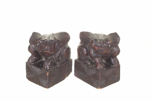 Pair of Antique Chinese Small Wooden Statue Animal Foo Dog / Lion, 19th c