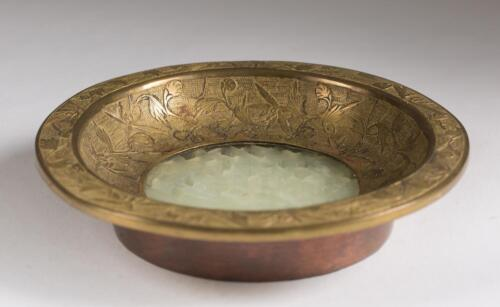 China Chinese Brass Incised Bowl w/ Avian Jade ? Hard stone Decor ca. 19-20th c.