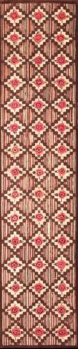 "Antique American Hooked Rug 10'9"" x 2'6"""