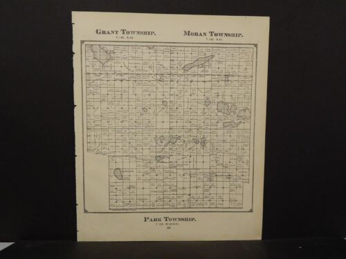 North Dakota Richland County MapGrant Moran Park Townships 1897 J10#84
