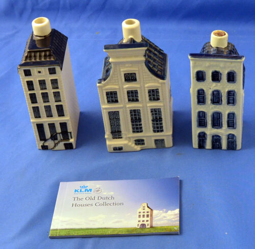 3  Blue Delft Miniature Houses 27, 57, & 63 by BOLS for KLM Airlines