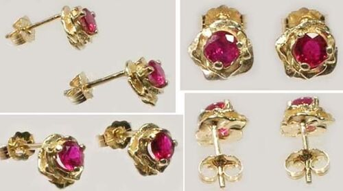 Gold Ruby Earrings 2/3ct Antique 19thC Ancient Celt Druid Persia Rome Magic 14kt