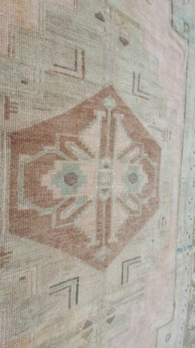 """Antique Cr1900-1939's Gold-Ivory Colors Wool  Pile Bohemian Oushak Rug 5'6""""×9'4"""""""