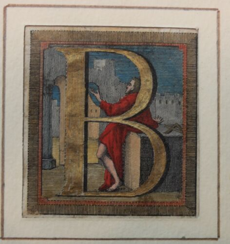 Antique hand colored historiated woodcut initial B with Gold.Italian wood frame