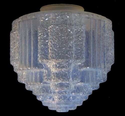 Lg Antique Art Deco Ice Blue Opal Glass Skyscraper Ceiling Fixture Lamp Shade