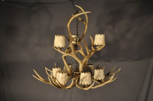 "Nine Light Faux Antler? Antler Chandelier With Leather Laced Shades 36"" x 31"""