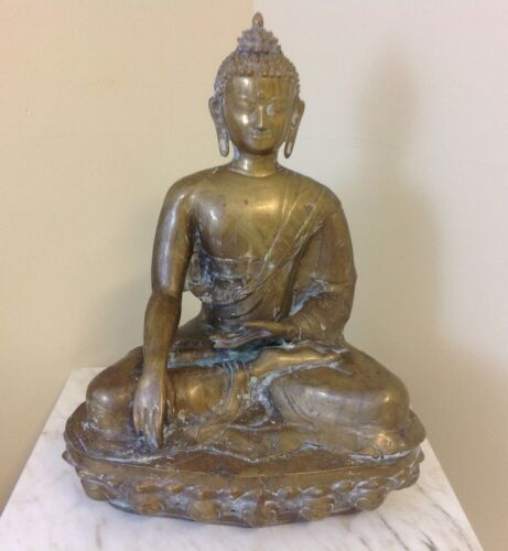Vintage Large Heavy Brass Buddha Statue