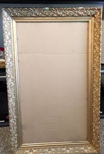 Large Vintage gold gilt ornate gesso picture frame 17 x 30""