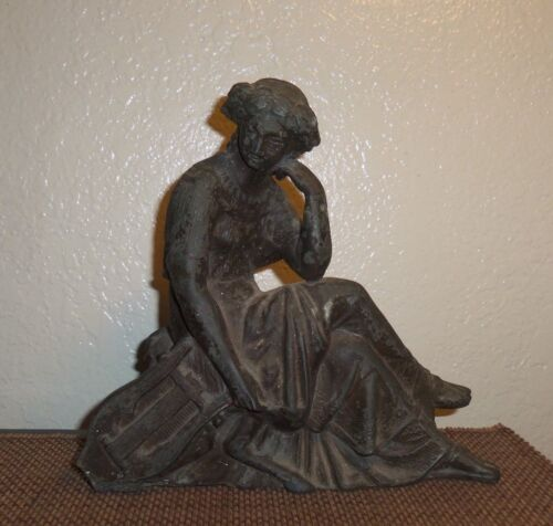 Antique Victorian Ansonia Spelter Clock Topper Woman with Lyre Statue Large