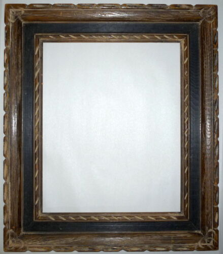 """Vintage Antique Rustic Painted Wood Carved Picture Frame 22"""" x 19"""" 1950-1960"""