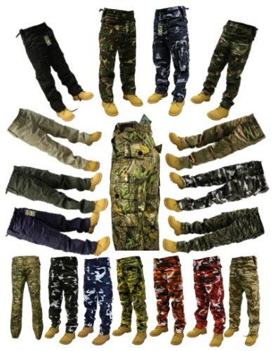 "Adults Mens Camo Plain Army Cargo Combat Trousers 28"" - 56"" Short Regular LongTrousers - 57989"