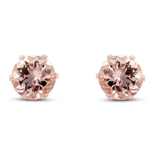 2.00 CT Round Pink Morganite In 14k Gold Over 6 Prong Stud Earrings 6mm $68.95
