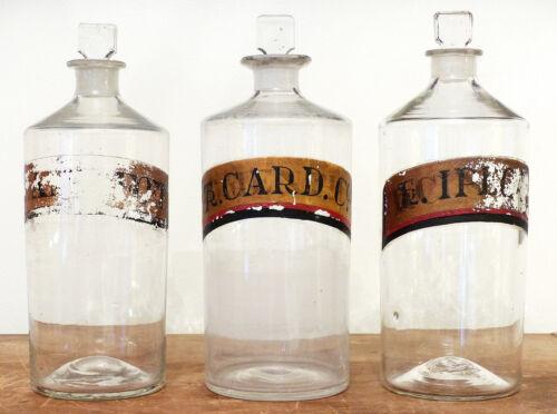 Antique SET 3 18th C Apothecary Painted PHARMACY GLASS Bottle Jar GROUND PONTIL