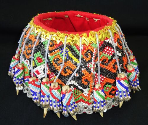 Borneo Dayak Tribal Beaded Hat w. Colorful Motifs - Open Top (Eic)