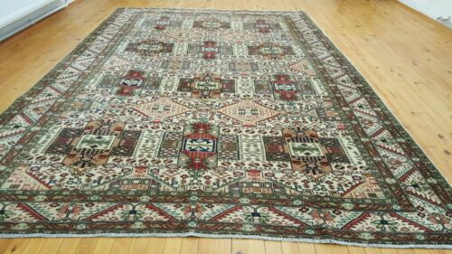 """Geometric Patterned 1900-1939s Antique,Muted  Colors 6'6""""×9'10"""" Legendary Hereke"""