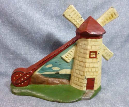 """Rare Antique Oversized """"Windmill with Background"""" Cast Iron Door Stop Book Piece"""