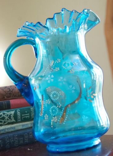 LIGHT BLUE ENAMEL GLASS ANTIQUE PITCHER RUFFLE RIM BOHEMIAN AESTHETIC GOLD GILT