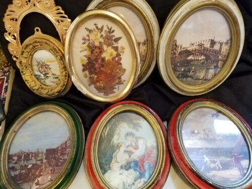 Lot of 6 small vintage Italian ornate wood-look plastic picture frames & more