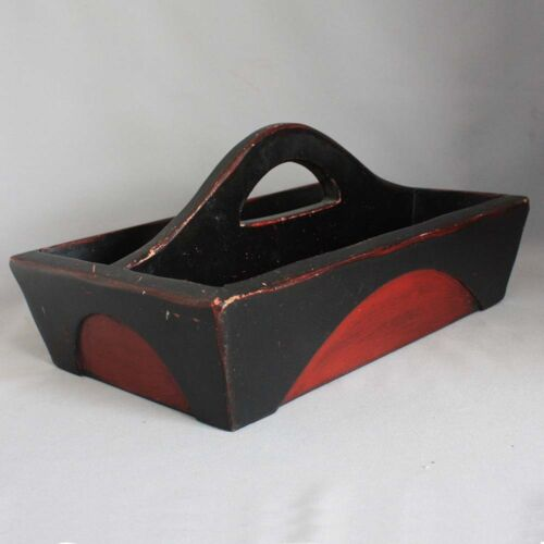 Primitive Antique Overlaid WOOD CARRIER Carrying Tote Caddy RED BLACK PAINT AAFA