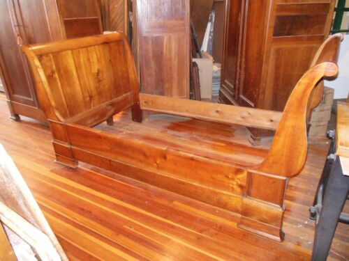Beautiful Antique French Country Cherry Empire Style Sleigh Day Bed