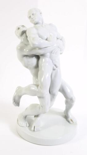 Herend White Glazed Figural Group Nude Male Wrestlers signed P Farkas B. 20th C