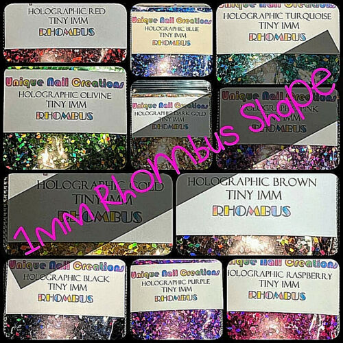 NEW~RHOMBUS Shape~Tiny 1MM~Solvent Resistant~You Choose Color~ Nail Art USA